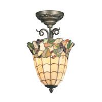 Dale Tiffany Tiffany Grape 1 Light Semi-Flush Mount in Antique Bronze TH70518