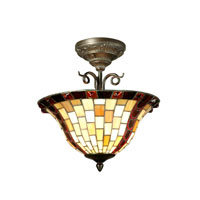 Dale Tiffany Baroque 2 Light Semi-Flush Mount in Antique Bronze TH70647