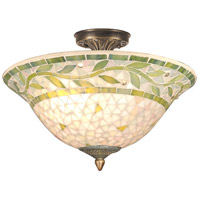 Dale Tiffany TH70655 Mosaic 3 Light 13 inch Antique Brass  Semi-Flush Mount Ceiling Light