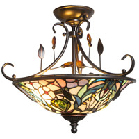Crystal Peony 2 Light 17 inch Antique Golden Sand Semi-Flush Mount Ceiling Light