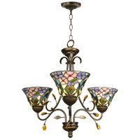 Crystal Peony 3 Light 24 inch Antique Golden Sand Hanging Fixture Ceiling Light