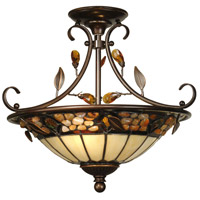 Dale Tiffany Pebblestone Hanging Fixture 2 Light in Antique Golden Sand TH90218 photo thumbnail