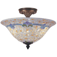 Johana Mosaic 3 Light 14 inch Antique Brass  Flush Mount Ceiling Light