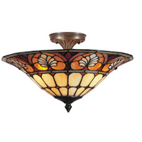Dale Tiffany TM100598 Dylan Tifffany 3 Light 16 inch Antique Brass Plating Flush Mount Ceiling Light photo thumbnail