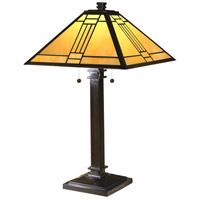 Noir Mission 27 inch 60 watt Mica Bronze Table Lamp Portable Light