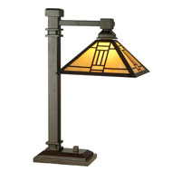 Noir Mission 22 inch 60 watt Mica Bronze Table Lamp Portable Light