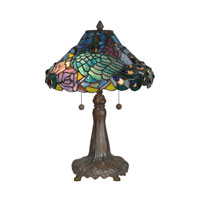 Dale Tiffany Tiffany 2 Light Table Lamp in Dark Antique Bronze Verde Grn TT10025 photo thumbnail