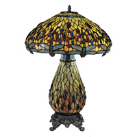 Dale Tiffany Jeweled Dragonfly 2+1 Light Table Lamp in Antique Brass TT100273