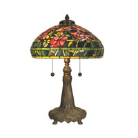 Dale Tiffany Peony Tiffany Replica Table Lamp 2 Light in Dark Antique Bronze Verde Grn TT10029