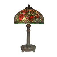 Dale Tiffany Peony Tiffany Replica Table Lamp 2 Light in Dark Antique Bronze Verde Grn TT10030 photo thumbnail