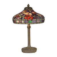 Dale Tiffany Peony Tiffany Replica Table Lamp 2 Light in Dark Antique Bronze Verde Grn TT10031