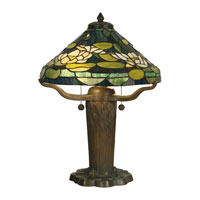 Dale Tiffany Water Lily Tiffany Replica Table Lamp 2 Light in Dark Antique Bronze Verde Grn TT10032