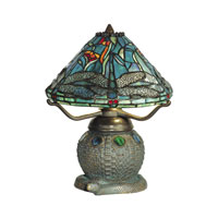 Dale Tiffany Dragonfly Replica Table Lamp 2 Light in Dark Antique Bronze Verde Grn TT10033 photo thumbnail