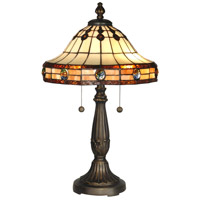 Dale Tiffany Jeweled Mission Table Lamp 2 Light in Antique Golden Sand TT10034 photo thumbnail