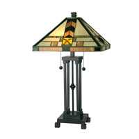 Dale Tiffany Martin Mission Style Table Lamp 2 Light in Dark Antique Bronze TT10035