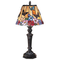 Dale Tiffany TT100587 Butterfly and Peony Tiffany 24 inch 40 watt Fieldstone Table Lamp Portable Light photo thumbnail