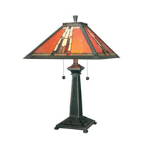 Dale Tiffany Amber Monarch 2 Light Table Lamp in Mica Bronze TT100716