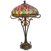 Dale Tiffany Dragonfly Table Lamp 2 Light in Antique Golden Sand TT10095