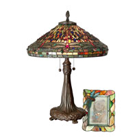 Dale Tiffany Dragonfly Table Lamp & 4X6 Picture Frame Set 2 Light in Antique Bronze Paint TT100953