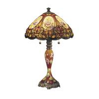 Dale Tiffany Scoville Table Lamp 2 Light in Hand Paint Art Glass TT101164 photo thumbnail