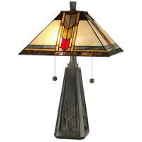 Dale Tiffany Mallinson Table Lamp 2 Light in Coffee Black TT101387 photo thumbnail