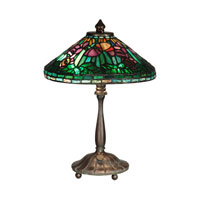 Dale Tiffany Poppy Shade Table Lamp 2 Light in Antique Verde TT10332 photo thumbnail