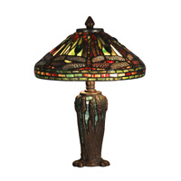 Dale Tiffany Dragonfly Jewel Tiffany Table Lamp 2 Light in Antique Bronze/Verde TT10333 photo thumbnail