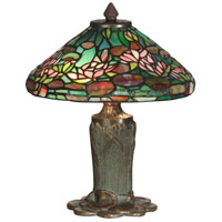 Dale Tiffany Floral Leaf Tiffany Table Lamp 2 Light in Antique Bronze/Verde TT10334