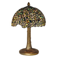 Dale Tiffany Wisteria Tiffany Table Lamp 2 Light in Antique Bronze/Verde TT10335