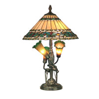 Dale Tiffany Tripple Lily Tiffany Table Lamp 5 Light in Antique Bronze, Hand Blown Glass Shade TT10338