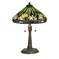 Dale Tiffany Daffodil Table Lamp 2 Light in Antique Verde TT10344