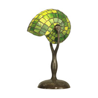Green Nautilus 18 inch 60 watt Antique Verde Table Lamp Portable Light