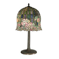 Flowering Lotus Replica 29 inch 60 watt Antique Bronze/Verde Table Lamp Portable Light