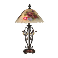 Dale Tiffany Handpainted Table Lamp with Able Crystal Leaves 2 Light in Antique Golden Sand TT10449