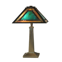 Dale Tiffany Brea Tiffany Mission Table Lamp 2 Light in Antique Verde TT10499