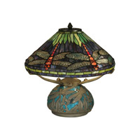 Dale Tiffany Dragonfly On Shade & Base Table Lamp 3 Light in Antique Bronze Plating TT10518
