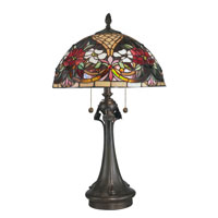 Dale Tiffany Rose Garden Tiffany Table Lamp 2 Light in Antique Bronze Paint TT10521