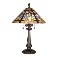 Dale Tiffany Floral Branch Tiffany Table Lamp 2 Light in Antique Bronze Paint TT10526