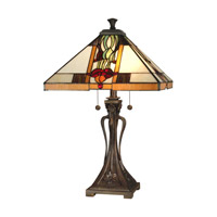 Dale Tiffany Natalie Mission Table Lamp 2 Light in Antique Bronze Paint TT10533