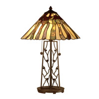 Dale Tiffany Rectangular Base Tiffany Table Lamp 2 Light in Dark Antique Bronze TT10597