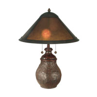 Dale Tiffany Mica Round Base Table Lamp 2 Light in Antique Bronze Paint TT10608 photo thumbnail