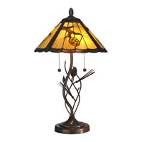 Dale Tiffany Ponderosa Table Lamp 2 Light in Walnut TT10749 photo thumbnail