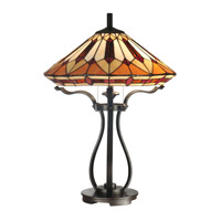 Dale Tiffany Harp Tiffany Table Lamp 2 Light in Black TT10791 photo thumbnail