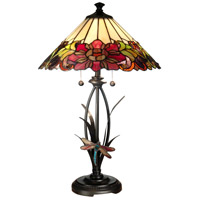 Dale Tiffany Floral With Dragonfly Tiffany Table Lamp 2 Light in Antique Bronze Paint TT10793