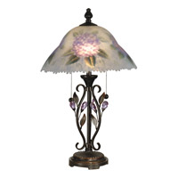 Dale Tiffany Hand Painted Purple Flower Table Lamp 2 Light in Antique Golden Sand TT10796 photo thumbnail