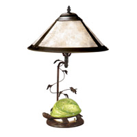 Dale Tiffany Mica Green Turtle Table Lamp 2 Light in Antique Bronze Paint TT10840