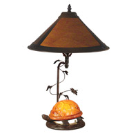 Dale Tiffany Mica Amber Orange Turtle Table Lamp 2 Light in Antique Bronze Paint TT10841