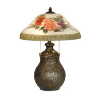 Dale Tiffany Hand Painted Floral Table Lamp 2 Light in Antique Bronze Paint TT10891