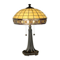 Dale Tiffany Jewel Squre Panel Tiffany Table Lamp 2 Light in Dark Antique Bronze TT11028 photo thumbnail