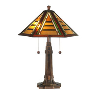 Dale Tiffany Grueby Tiffany Table Lamp 2 Light in Antique Golden Sand TT11049